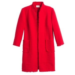 NWT Chico's Red frayed light weight long jacket